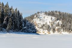 Mountain red river in winter stock photos