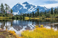 Mountain Reflected in Lake Stock Images