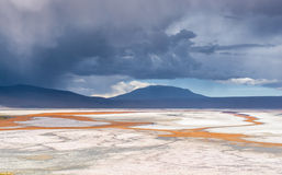 Mountain, reflecting in the lake with flamingos, bolivia Stock Image