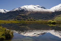 Mountain reflection. In Lake, new zealand Royalty Free Stock Photography