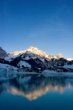 Mountain Reflection. At sunrise in Switzerland royalty free stock photos