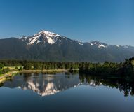 Aerial View of Calm Mountain Reflection stock photography
