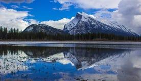 Mountain Reflection in Banff, Alberta, Canada royalty free stock photo