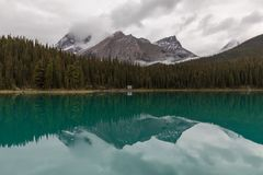 Mountain Reflection on Calm Lake in Jasper Royalty Free Stock Images
