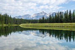 Mountain reflection in motionless water. Beautiful mountain landscape reflection in perfectly calm water Stock Images