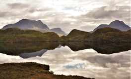 Mountain Reflection in Scottish Highlands royalty free stock photo