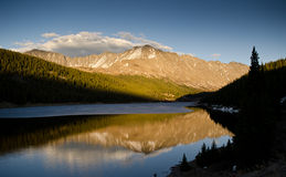 Mountain reflection during sunset. Mountain reflection in Clinton Gulch Dam Reservoir, Colorado, USA Stock Image