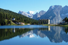 Mountain Reflections in Lake Misurina Stock Images