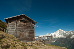 Mountain refuge house in French Alps. Under blue sky Royalty Free Stock Photos