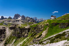 Mountain refuge. A mountain hut also known as alpine hut, mountain shelter, mountain refuge, mountain lodge, and mountain hostel is a building located high in Royalty Free Stock Images