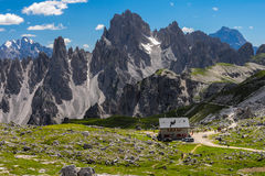 Mountain refuge. A mountain hut also known as alpine hut, mountain shelter, mountain refuge, mountain lodge, and mountain hostel is a building located high in Stock Photo