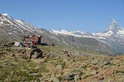 Mountain Refuge and Matterhorn stock images
