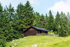 Mountain refuge with solar panels Royalty Free Stock Image