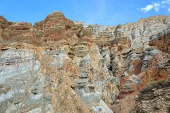Mountain relief formed during weathering. Trekking to the Upper Mustang. Nepal. Mountain relief formed during weathering Royalty Free Stock Photography