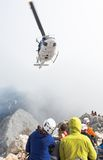 Mountain rescue helicopter Stock Photo