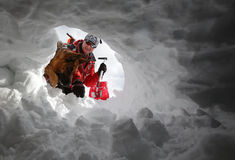 Mountain Rescue Service Red Cross man dog Royalty Free Stock Images