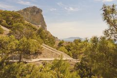 Mountain reserve on the black sea coast with equipped trekking trails surrounded by coniferous trees. Crimea royalty free stock photo