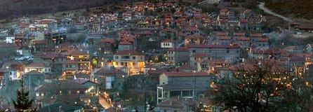 Mountain resort of Agios Athanasios, Greece. Agios Athanasios Greece, winter mountain resort by night stock photos
