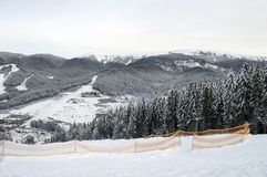 Mountain resort Bukovel. The theme of mountain sports, skiing, Bukovel, Carpathians, Ukraine royalty free stock photo