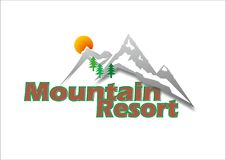 Mountain resort logo. With green and brown colors and snowed mountains Royalty Free Stock Images