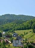 Mountain resort. Summer mountain landscape, blue sky and a green meadow - Cheile Gradistei - Romania Stock Photos