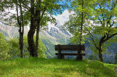 Mountain Rest Stop. Bench with a magnificent view in a small park the Swiss alps near Murren and Grindelwald Royalty Free Stock Photo