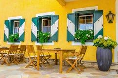 Mountain restaurant in tourist destination, Alps Royalty Free Stock Photos