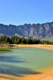 Mountain Reticulation. Man made dam high up in the mountains around Somerset West South Africa Royalty Free Stock Image