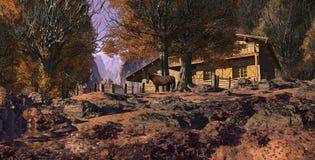Mountain Retreat With Horse. In the fall season Stock Photo