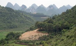 Mountain and rice fields of Yangshuo. China Royalty Free Stock Image