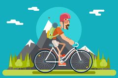 Mountain Ride Bicycle Geek Hipster ycling Travel Nature Lifestyle Concept Planning Summer Vacation Tourism Forest. Mountain Ride Bicycle Geek Hipster ycling vector illustration