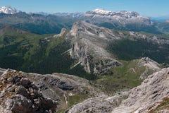 Mountain Ridge with Big Stone among Barren Mountains in Italian Stock Photos