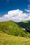 Mountain ridge and blue sky with clouds Royalty Free Stock Images