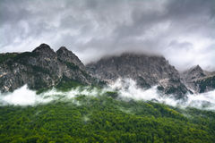 Mountain ridge in the clouds and forest on the slope Stock Photo