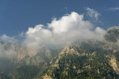 Mountain ridge on the coast of Turkey. Royalty Free Stock Images
