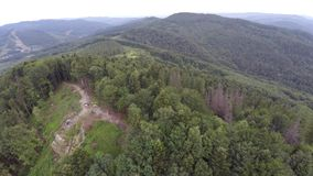 The mountain ridge covered with forest with flag. Mountain landscape. Drone video. stock video footage