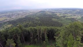 The mountain ridge covered with forest. Mountain landscape. Drone video. stock video footage