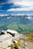 Mountain ridge Eiger, Moench and Jungfrau Stock Photo
