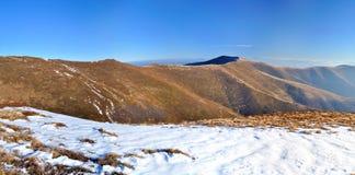 Mountain ridge and first snow panorama Royalty Free Stock Photos