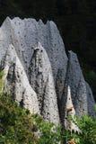Mountain ridge with forming earth pyramids, Hautes-Alpes, France stock photos