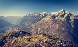 Mountain ridge with grassy slopes Royalty Free Stock Images