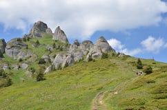 Mountain ridge and hikers