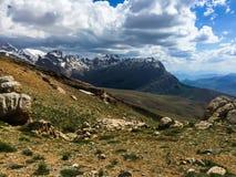 Mountain ridge on the horizon stock photos