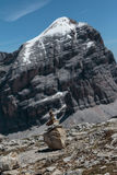 Mountain Ridge in Italian Dolomites Alps in Summer Time and Ston Stock Photography