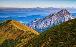On a mountain ridge of Low Fatra, Velky Rozsutec mountain in the background, Mala Fatra mountain range, Slovakia stock images