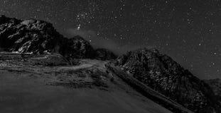 Mountain ridge at night. Royalty Free Stock Images
