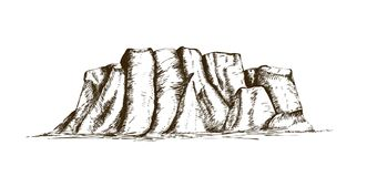 Free Mountain Ridge Or Natural Landmark Hand Drawn In Vintage Engraving Style. Beautiful Retro Drawing Of Rock Cliff, Plateau Royalty Free Stock Photography - 129061957