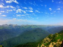 Mountain Ridge. Picture taken on top of Krasnaya Polyana. One can see the Greater Caucasus Mountain Range peaks stock photography