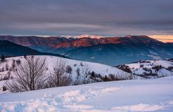 Mountain ridge with snowy top at sunrise. Gorgeous mountainous countryside landscape in winter stock photos