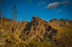 A mountain ridge on Tenerife. Under a blue sky royalty free stock photography